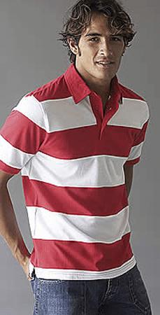 Kariban Ray Tweekleurige Gestreepte Heren Rugbyshirt Korte Mouwen K237